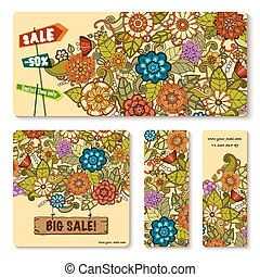 Vector templates set with floral doodles. Sale banners.