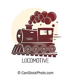 Vector Templates With A Locomotive, Vintage Train, Logotype