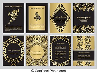 Vector templates with florals in black, gold colors.