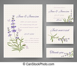 Vector templates with lavender bunches