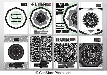 Vector templates with round ornamental vector shapes, celtic patterns and frames for brochures, flyers or reports