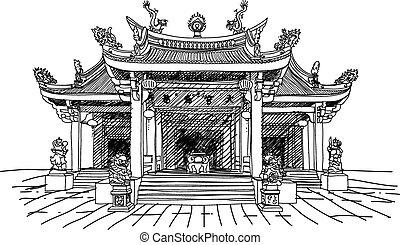 vector, templo, chino