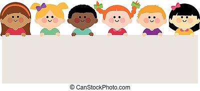 vector, tenencia, blanco, grupo, niños, banner., ilustración