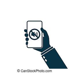 vector, tenencia, de, sonido, mano, teléfono, smartphone, ...