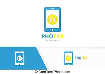 Vector tennis and phone logo combination. Game and mobile symbol or icon. Unique ball and device logotype design template.