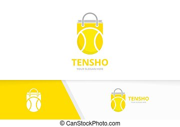 Vector tennis and shop logo combination. Game and sale symbol or icon. Unique ball and market logotype design template.