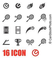 vector, tennis, set, grijze , pictogram
