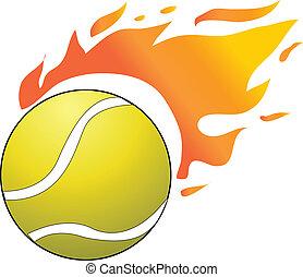 vector, tennis, sportende, bal