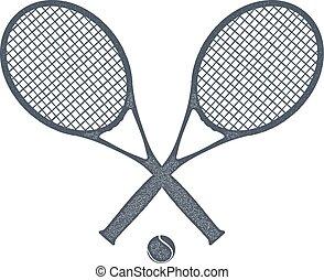 vector, tennis, twee, bal, witte , liggen, rackets, style., ...