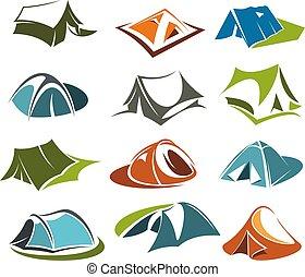 vector, tentje, iconen, camping, berg, avontuur