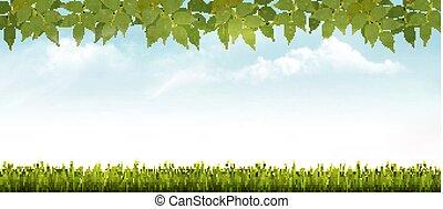 vector., természet, eredet, leaves., háttér, fű