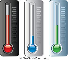 vector, termómetros, conjunto