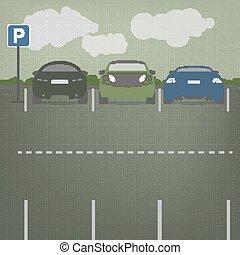 vector, terreno, estacionamiento