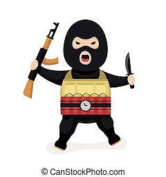 vector, terrorist., estilo, enojado, moderno, plano