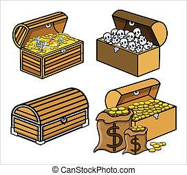 vector, tesoro, cajas, conjunto, cráneo