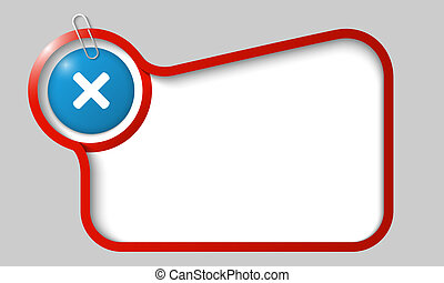 vector text box for any text with ban mark and paper clip