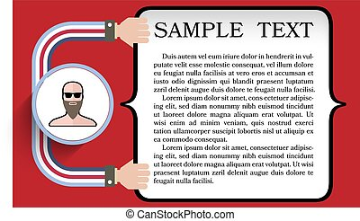Vector text box for fill your text with flat design portrait