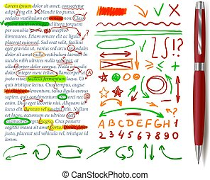Vector Text Correction Elements, Text Sample, Realistic Red Pen.