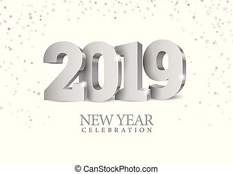Vector text Design 2019. silver 3d numbers. Happy new year ...