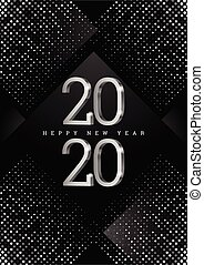 Vector text Design 2020. silver 3d numbers on a black ...