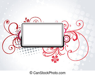 vector text frame panel with florals