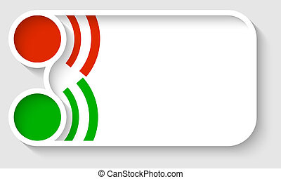 vector text frame with red and green circle