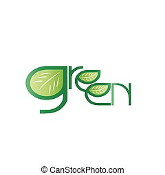 Vector Text Green with leaf icon