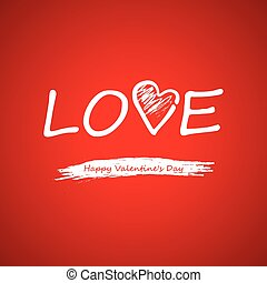 Vector. Text on a red background on Valentines Day.