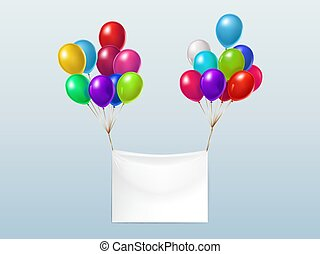 Vector textile banner with colorful balloons