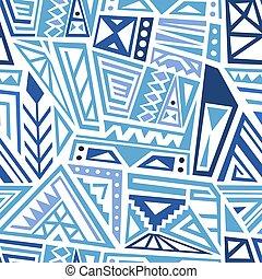 Vector textile design - ethnic style boho pattern. Seamless background tile. Blue colors.