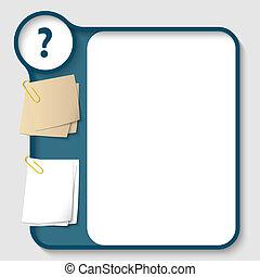 vector, texto, pregunta, dos, marca, clips, papel, marcos,...