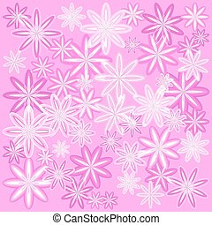 Vector texture of delicate pink flowers with a light frame for fabrics.