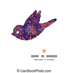 Vector textured christmas stars bird silhouette pattern...