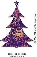 Vector textured christmas stars Christmas tree silhouette...