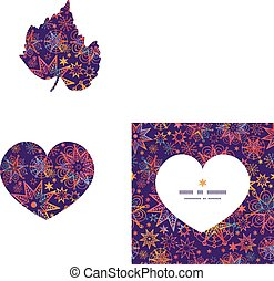 Vector textured christmas stars heart silhouette pattern...