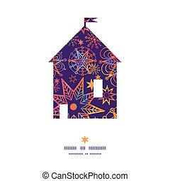 Vector textured christmas stars house silhouette pattern...