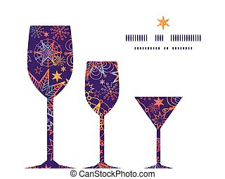 Vector textured christmas stars three wine glasses...