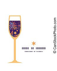 Vector textured christmas stars wine glass silhouette...