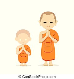 Vector Thai monks and Thai novice collections illustration