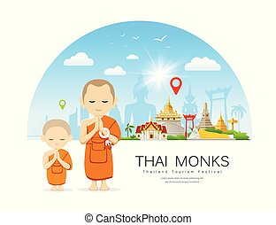 Vector Thai monks and Thai novice with Thailand Place of ...