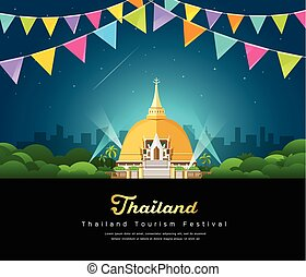 Vector thailand tourist landmark worshipers