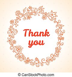 Vector thank you card with flower frame.