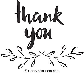 thank you - vector thank you card with olive branches