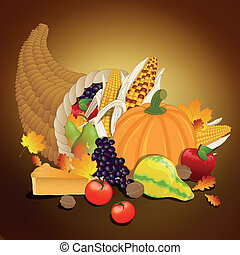 Vector Thanksgiving cornucopia with vegetables, and traditional elements of Thanksgiving