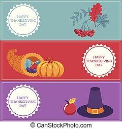 vector Thanksgiving day congratulation horizontal banners set