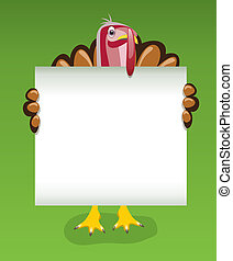 vector thanksgiving day design of turkey holding blank sheet of paper