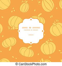 Thanksgiving golden pumpkins frame seamless pattern background