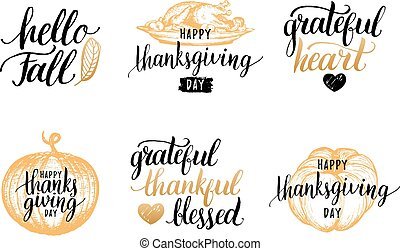 Vector Thanksgiving lettering with sketches for invitations,greeting cards.Calligraphy set Grateful Thankful Blessed etc
