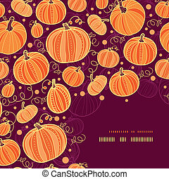 vector Thanksgiving pumpkins corner decor pattern background with hand drawn elements