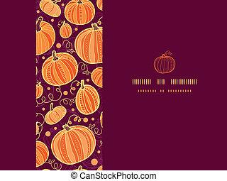 Thanksgiving pumpkins horizontal frame seamless pattern background